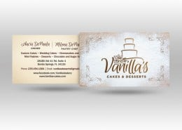 Vanillas Cakes and Desserts Business Card